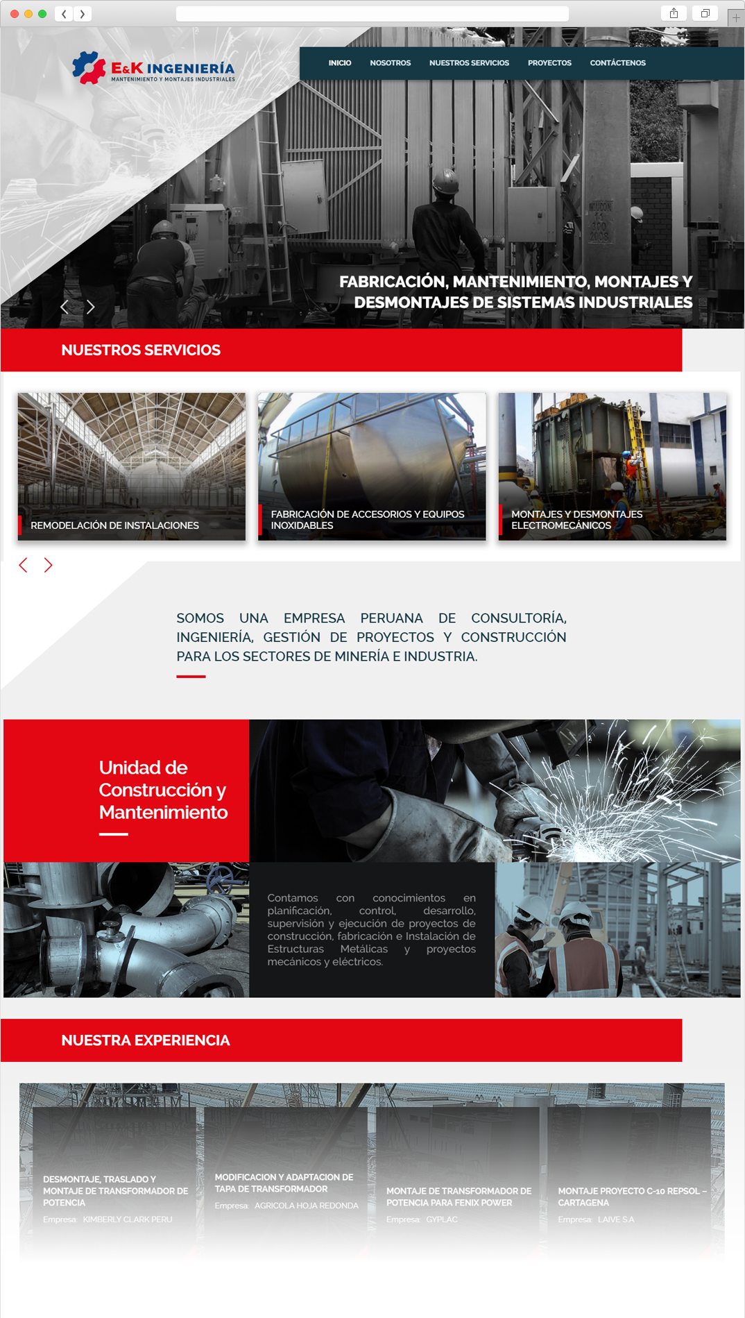 Página Web E&K Mantenimiento y Montajes Industriales E.I.R.L.